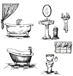 Bathroom interior elements hand drawn vector