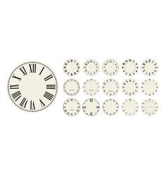 Big set clock faces watch dials vector