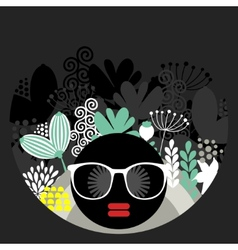 Black head woman with strange hair vector