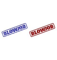 Blowjob blue and red rounded rectangle stamp seals vector
