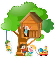 Boys and girls on treehouse vector
