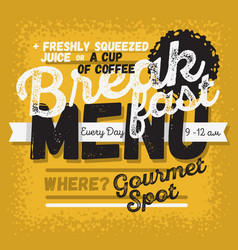 breakfast menu vintage influenced typographic vector image