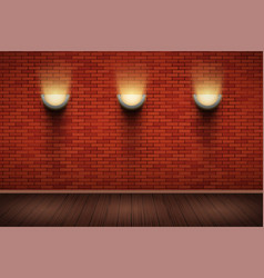 Brick wall room with vintage sconce lamps vector