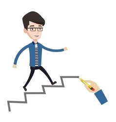 Businessman running up the career ladder vector image