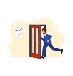 Businessman runs into open door human is running vector