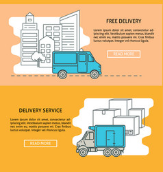Cargo and delivery horizontal banner templates vector