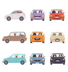 cars with drivers set side and front view vector image