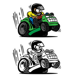cartoon racing lawnmower vector image