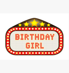 Cinema marquee birthday girl vector