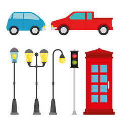 city elements set vector image