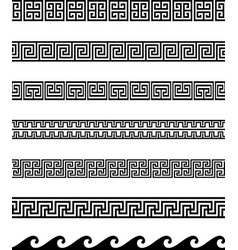 collection greek key borders vector image