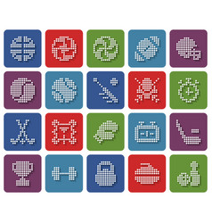 collection rounded square dotted icons sport vector image