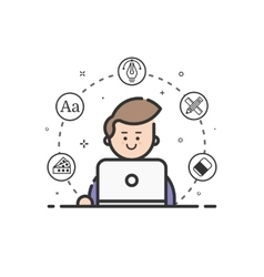 colored icon in flat line vector image