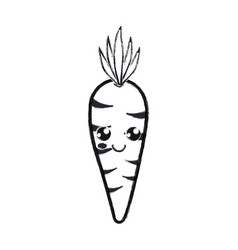 contour kawaii cute happy carrot vegetable vector image