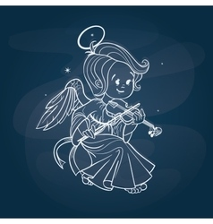 Cute happy smilingy Christmas bab angel playing vector image