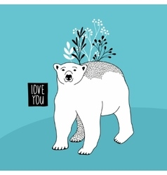 Cute polar bear with floral elements vector