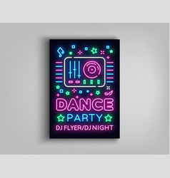 Dance party poster design template in neon style vector