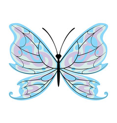 Decorative butterfly with blue wings vector