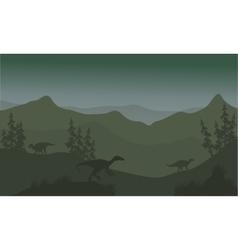 Dinosaur eoraptor in hills vector