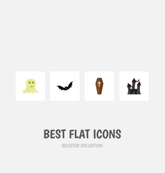flat icon halloween set of superstition fortress vector image