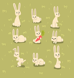 flat set of small bunny in different poses vector image