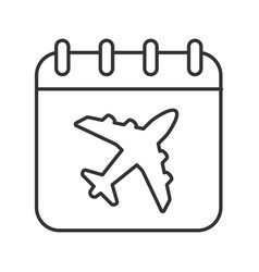 flight date linear icon vector image