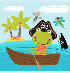 Frog pirate in the boat vector