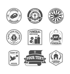 Funeral labels icons set vector