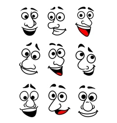 Funny cartoon faces set vector image