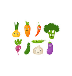 funny vegetable cartoon characters cute vector image