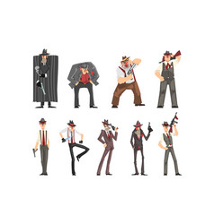 Gangster set criminal characters in fedora hat vector
