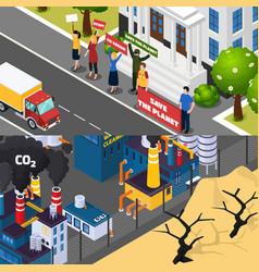 Global warming isometric banners vector