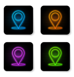 glowing neon map pin icon isolated on white vector image