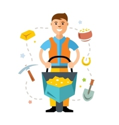 Gold miner Flat style colorful Cartoon vector image