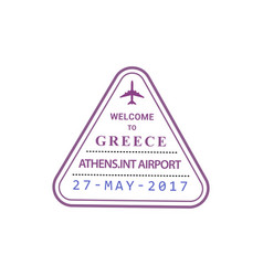 Greece airport stamp isolated vector