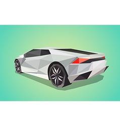 Grey sport car on green background - polygonal vector