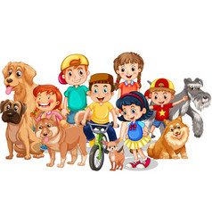 group children with their dogs on white vector image