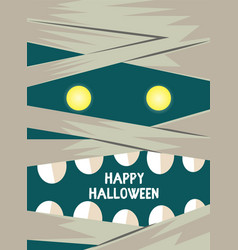 Hand drawn mummy scary face card vector