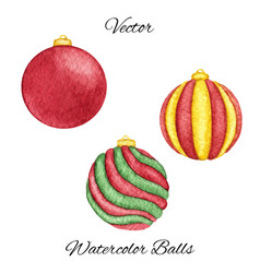 hand painted red watercolor christmas balls vector image