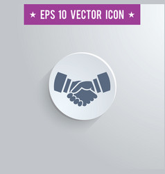 handshake symbol icon on gray shaded background vector image
