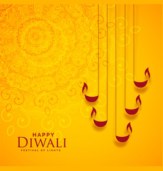 Happy diwali yellow indian style background design vector
