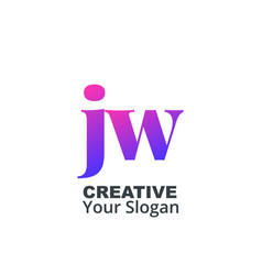 Initial letter jw lowercase design logo template vector