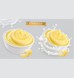 Instant mashed potatoes with butter and milk 3d vector