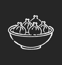 khinkali chalk white icon on black background vector image
