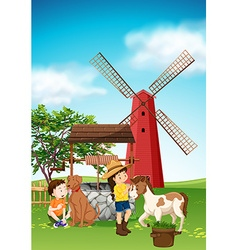 Kids and animals in farmyard vector