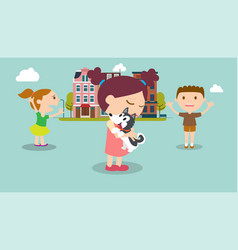 Kids find a dog in city with buildings background vector