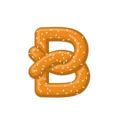 letter b pretzel snack font symbol food alphabet vector image