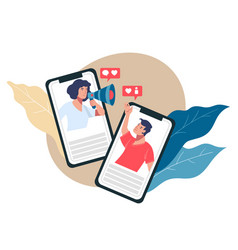 man and woman communicating in using smartphone vector image