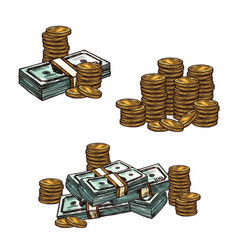 money sketch with stack of paper currency and coin vector image