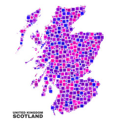 mosaic scotland map of square elements vector image